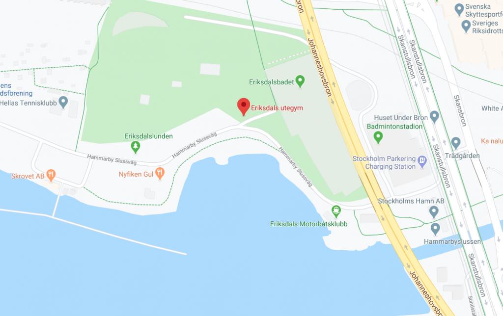 Karta Eriksdals utegym på Södermalm Stockholm