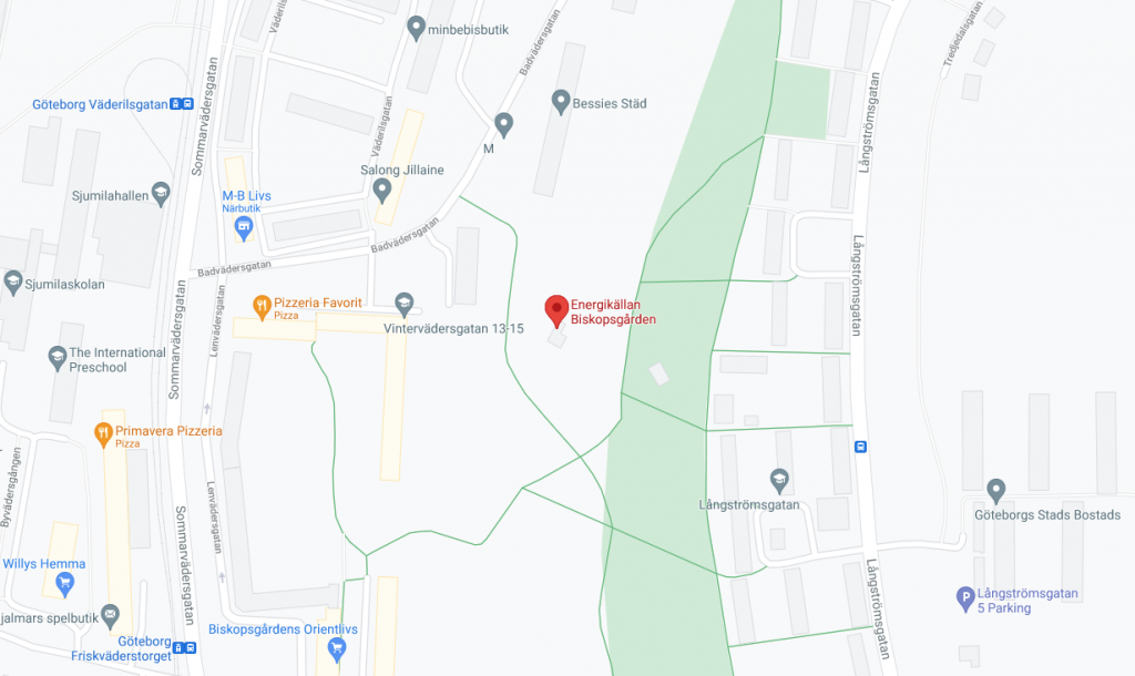 Karta till gymmet Energikällan i Biskopsgården Göteborg